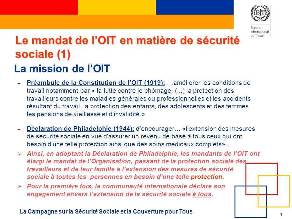 Le mandat de l'OIT en matière de sécurité sociale (1)