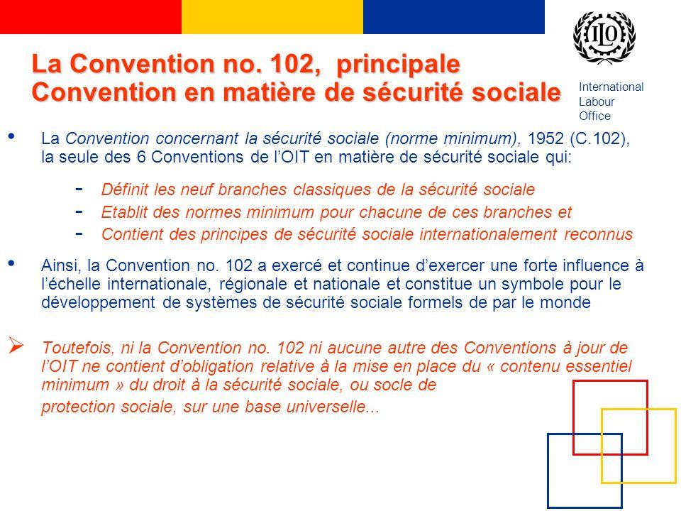 La Convention no. 102, principale Convention en matière de sécurité sociale