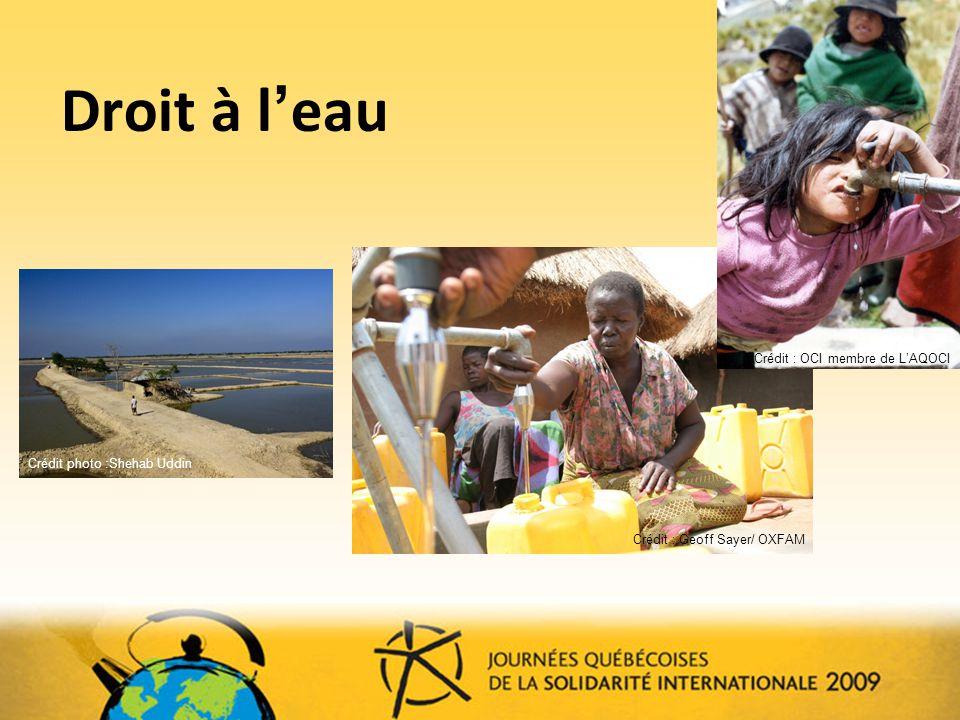 Droit à l'eau Crédit : OCI membre de L'AQOCI. Crédit photo :Shehab Uddin.