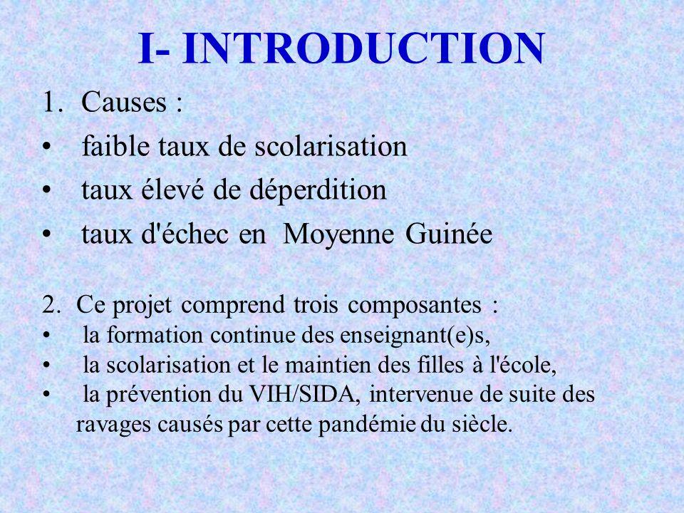 I- INTRODUCTION Causes : faible taux de scolarisation