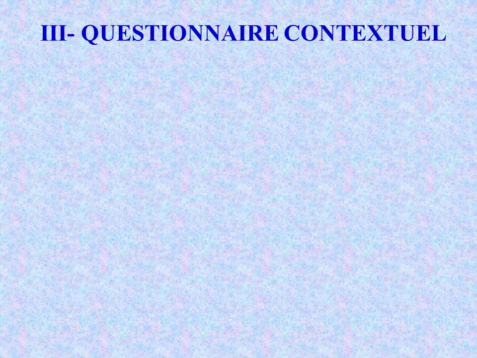III- QUESTIONNAIRE CONTEXTUEL