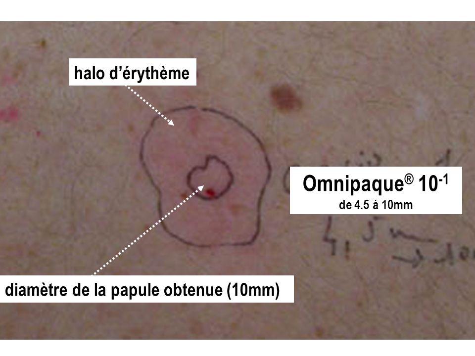 Omnipaque® 10-1 halo d'érythème diamètre de la papule obtenue (10mm)