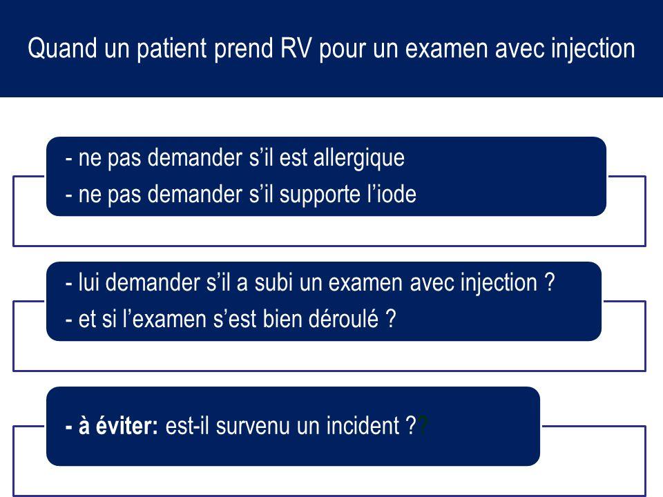 Quand un patient prend RV pour un examen avec injection