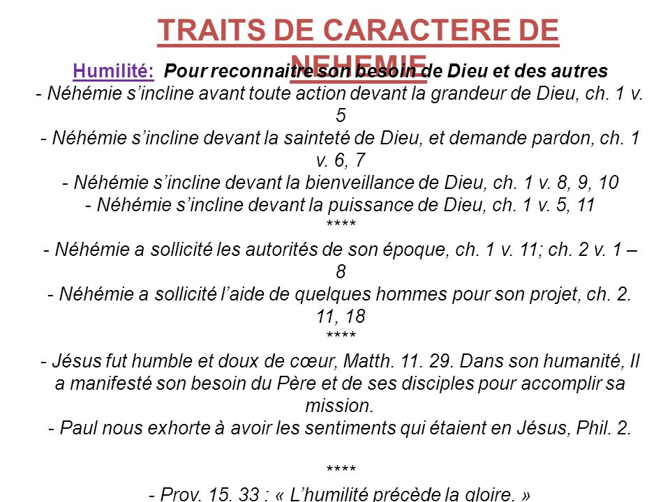 TRAITS DE CARACTERE DE NEHEMIE