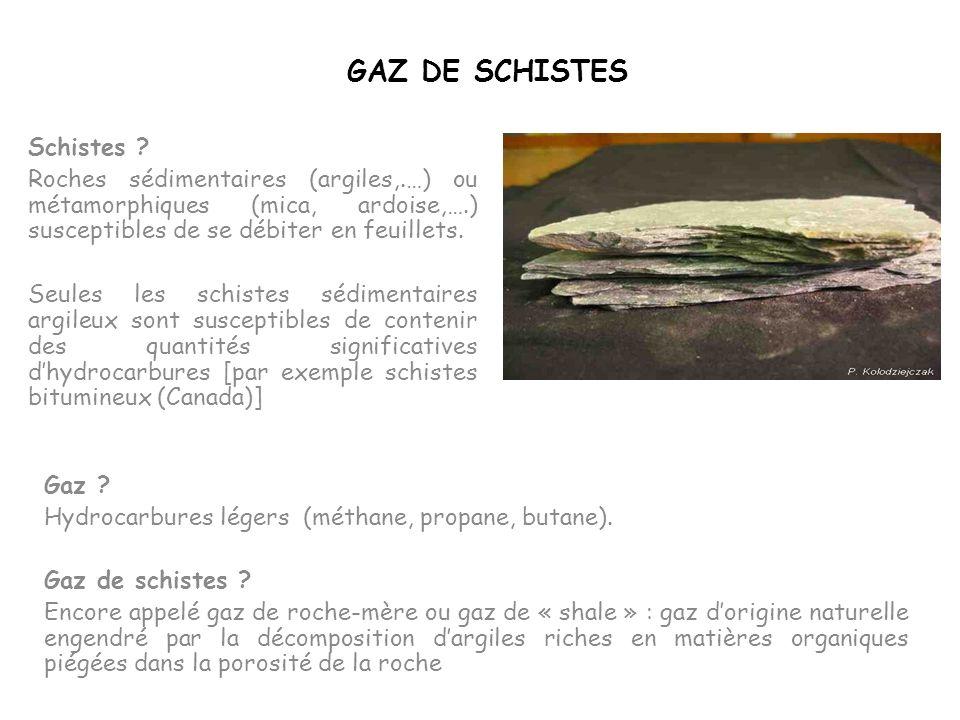 GAZ DE SCHISTES Schistes