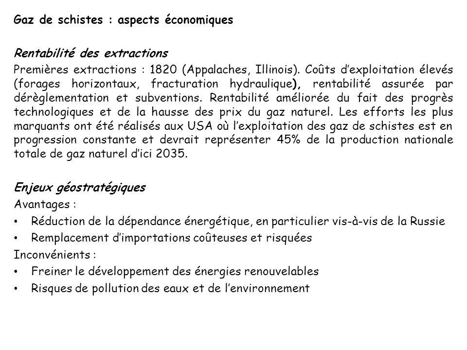 Gaz de schistes : aspects économiques