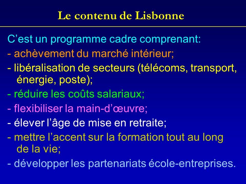 Le contenu de Lisbonne C'est un programme cadre comprenant: