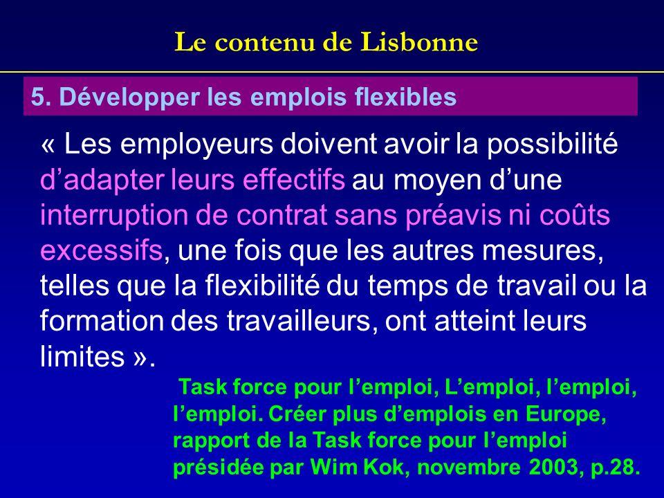 Le contenu de Lisbonne 5. Développer les emplois flexibles.