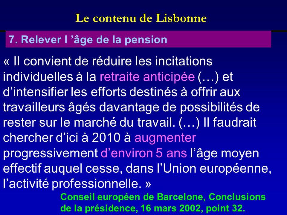 Le contenu de Lisbonne 7. Relever l 'âge de la pension.