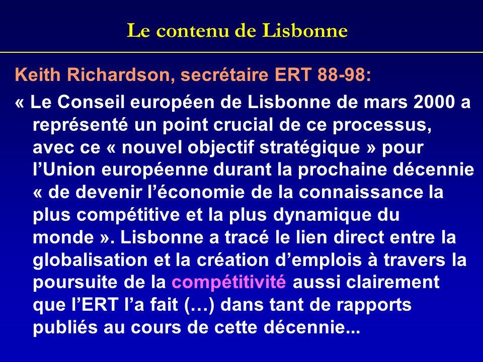 Le contenu de Lisbonne Keith Richardson, secrétaire ERT 88-98: