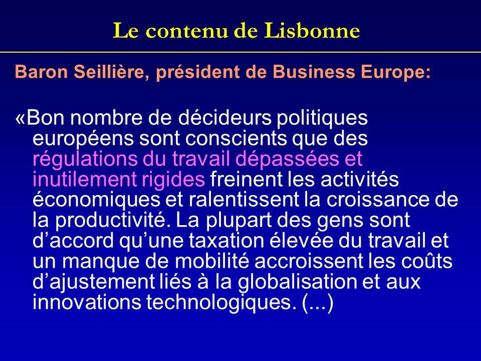 Le contenu de Lisbonne Baron Seillière, président de Business Europe: