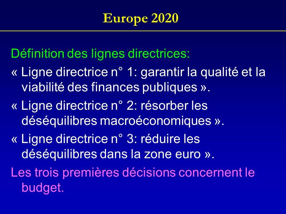 Europe 2020 Définition des lignes directrices: