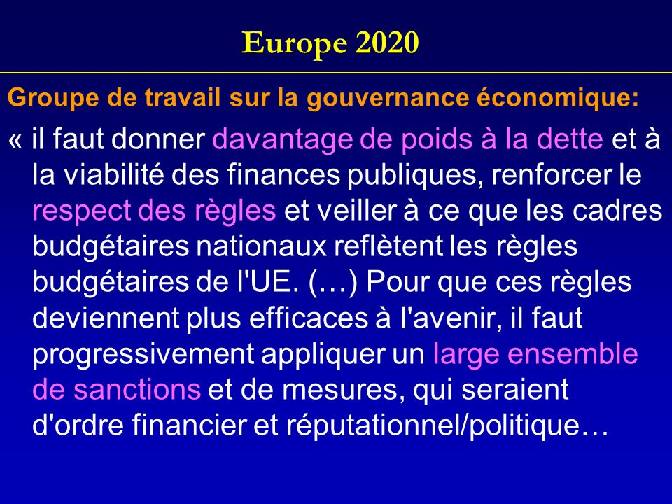 Europe 2020 Groupe de travail sur la gouvernance économique: