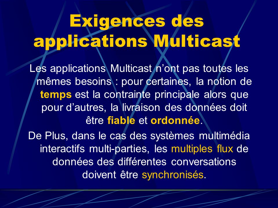 Exigences des applications Multicast