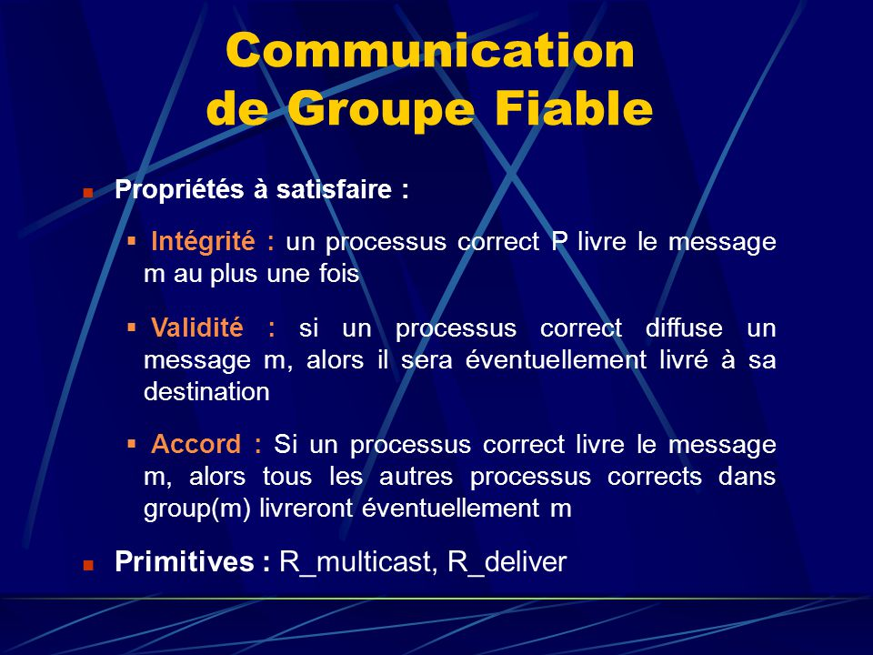 Communication de Groupe Fiable