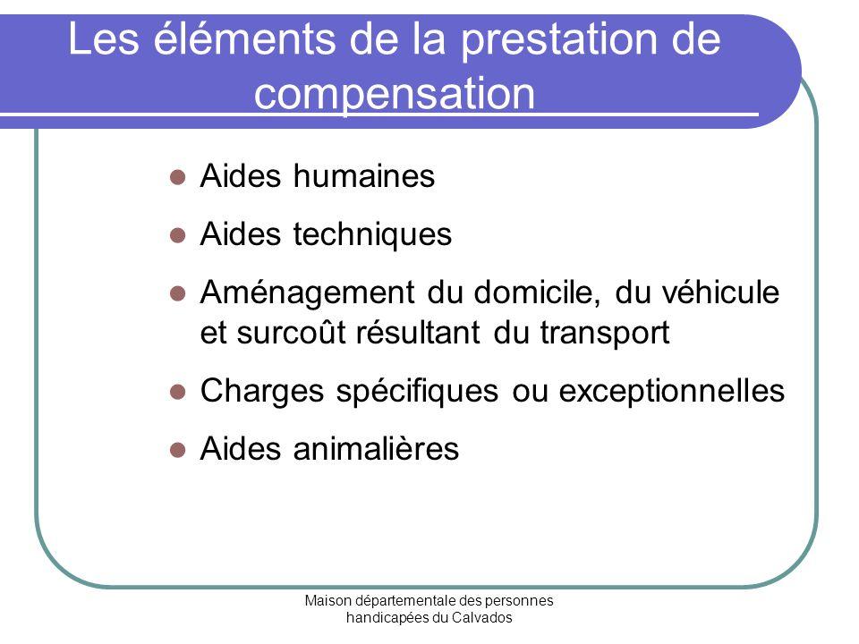 Les éléments de la prestation de compensation
