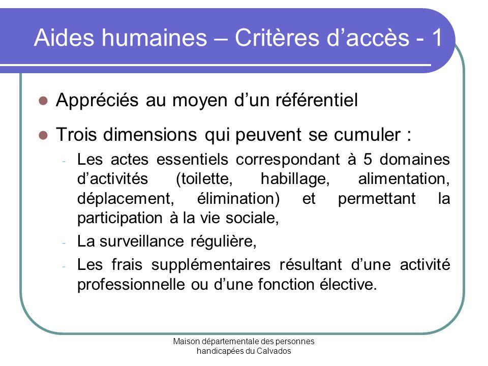 Aides humaines – Critères d'accès - 1