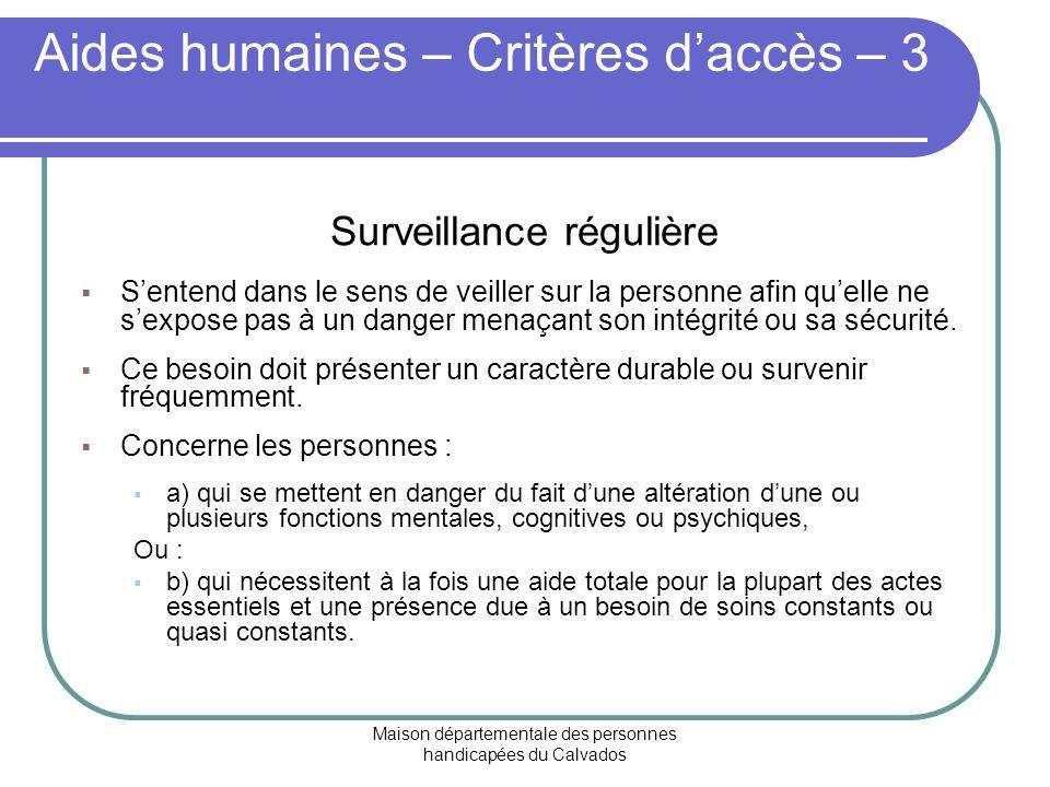 Aides humaines – Critères d'accès – 3