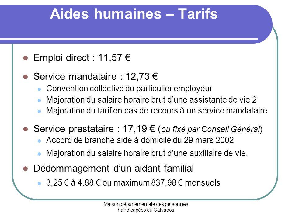 Aides humaines – Tarifs
