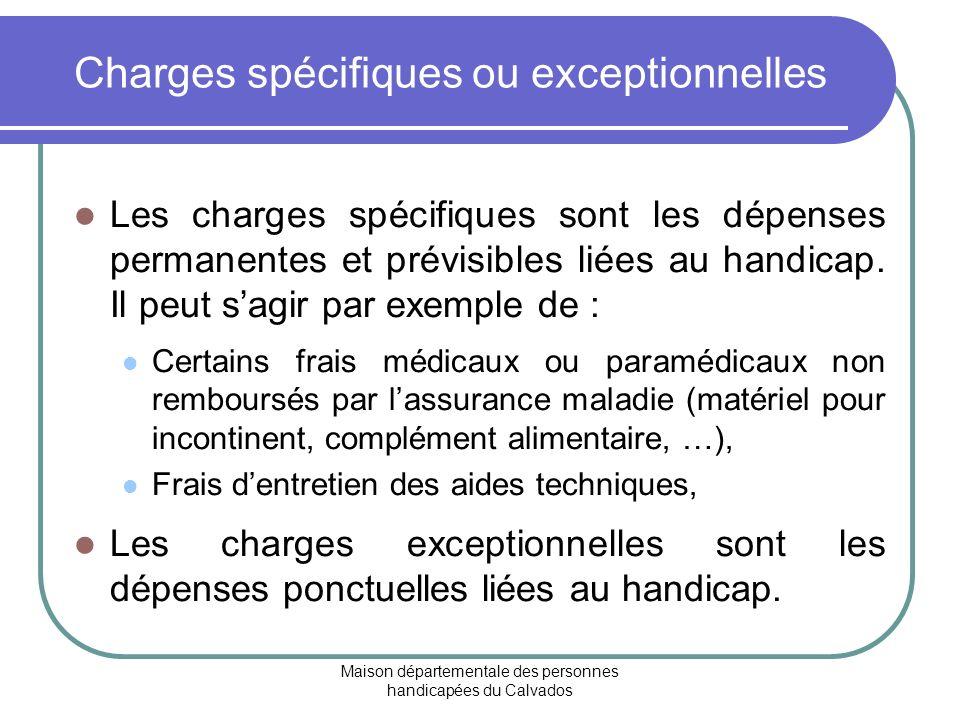 Charges spécifiques ou exceptionnelles