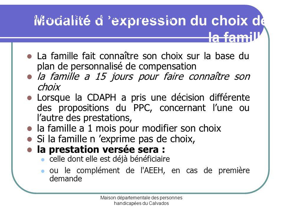 Modalité d 'expression du choix de la famille