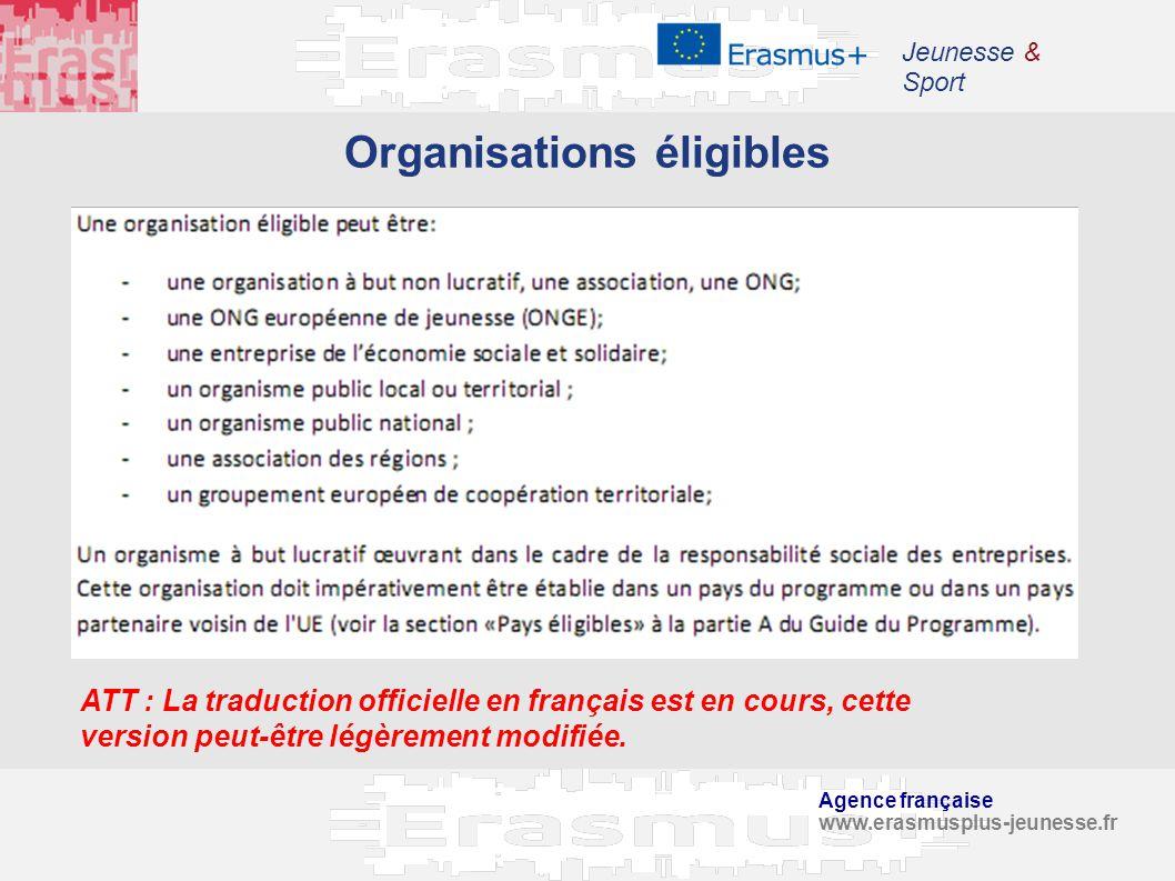 Organisations éligibles