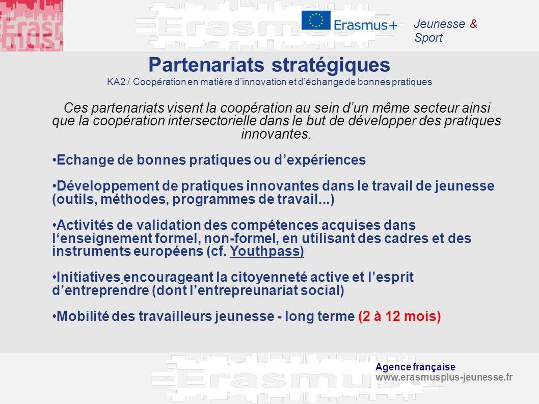Jeunesse & Sport Partenariats stratégiques KA2 / Coopération en matière d'innovation et d'échange de bonnes pratiques.