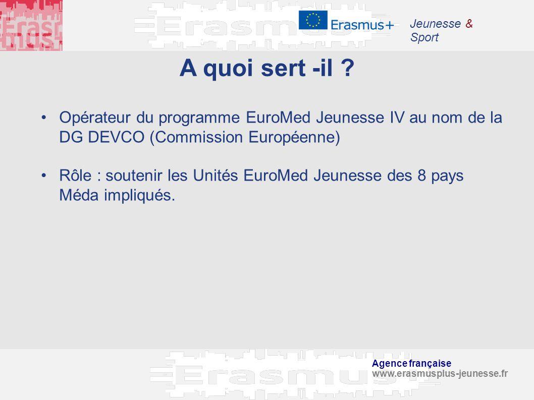 Jeunesse & Sport A quoi sert -il Opérateur du programme EuroMed Jeunesse IV au nom de la DG DEVCO (Commission Européenne)