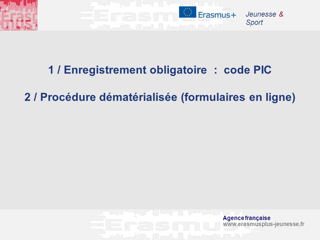 1 / Enregistrement obligatoire : code PIC