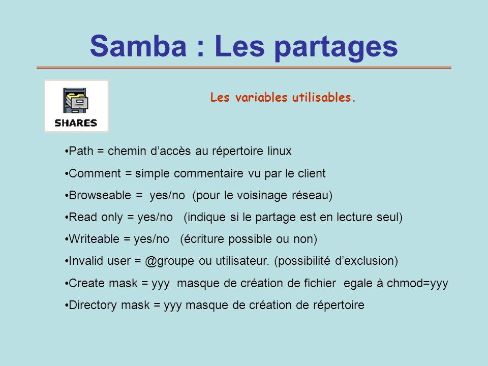 Samba : Les partages Les variables utilisables.