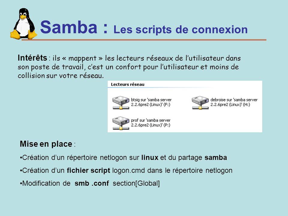 Samba : Les scripts de connexion
