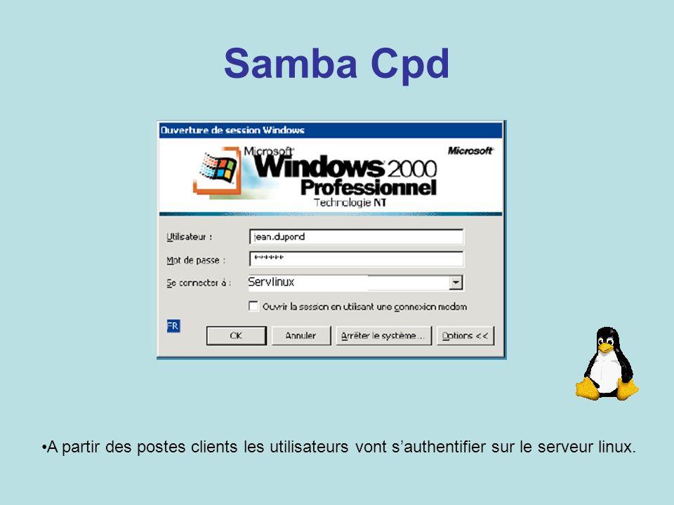 Samba CpdChaque utilisateur sera authentifié par le serveur Linux.