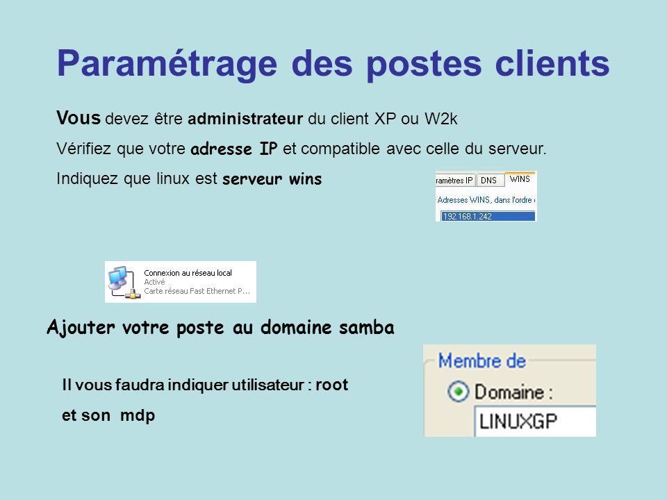 Paramétrage des postes clients