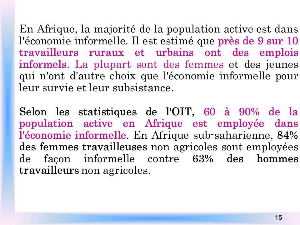 En Afrique, la majorité de la population active est dans l économie informelle. Il est estimé que près de 9 sur 10 travailleurs ruraux et urbains ont des emplois informels. La plupart sont des femmes et des jeunes qui n ont d autre choix que l économie informelle pour leur survie et leur subsistance.