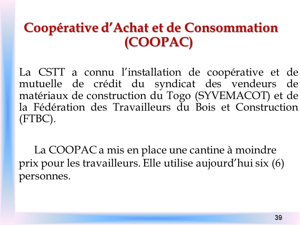 Coopérative d'Achat et de Consommation (COOPAC)