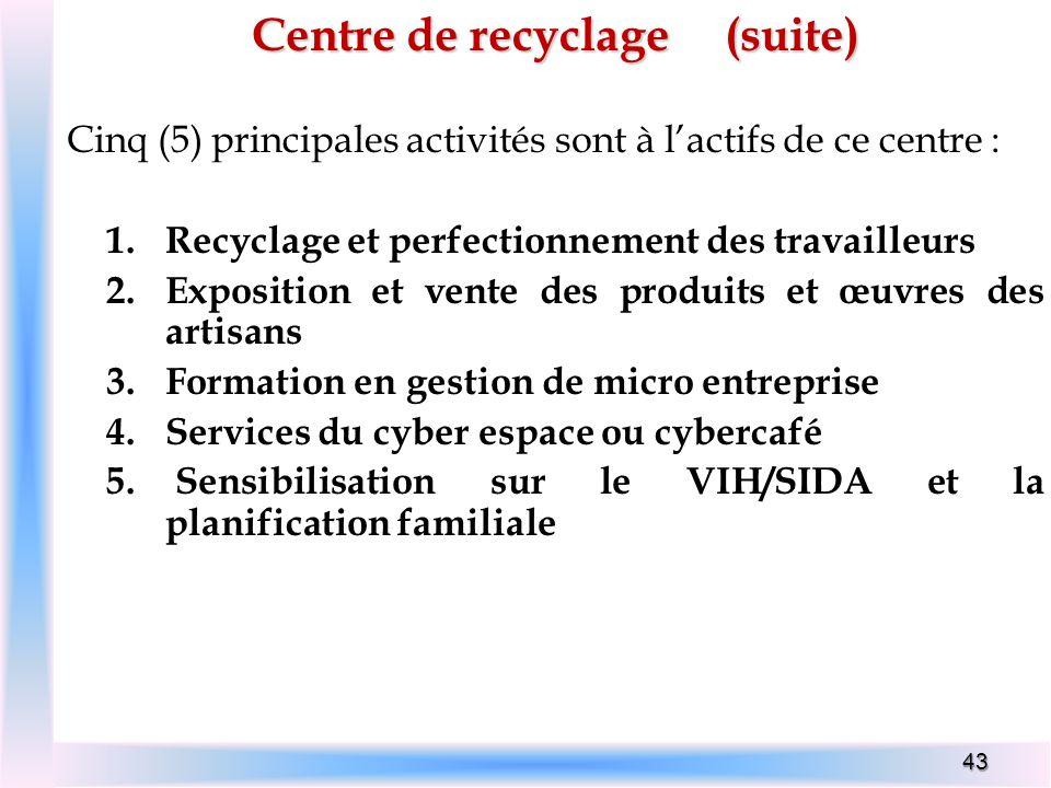 Centre de recyclage (suite)