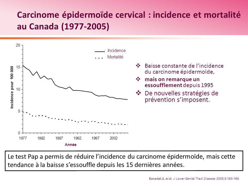 Carcinome épidermoïde cervical : incidence et mortalité au Canada (1977-2005)