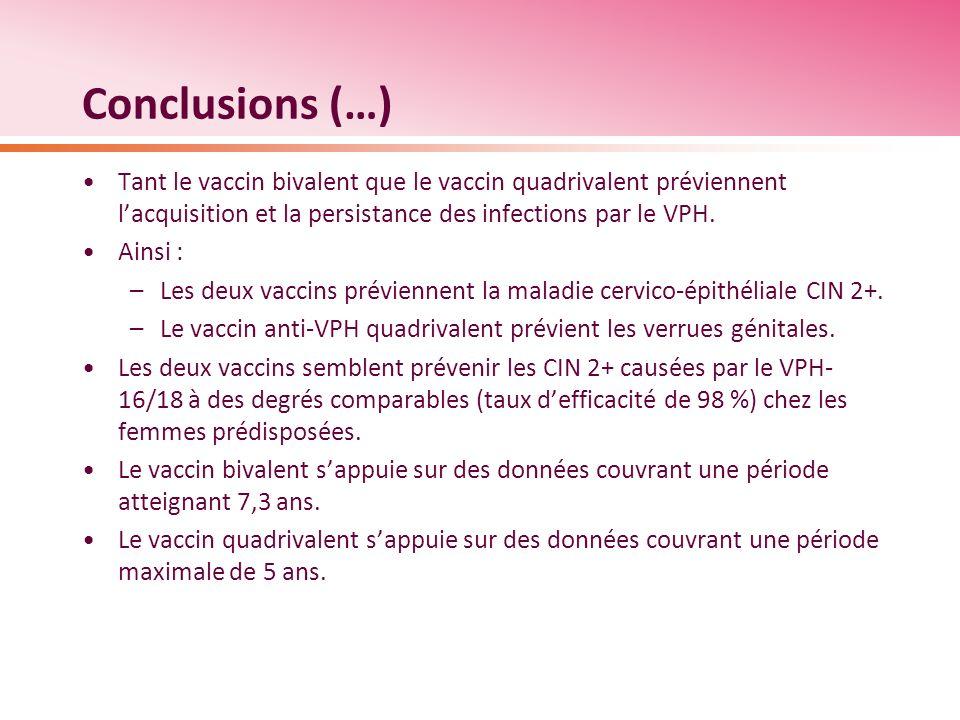 Conclusions (…) Tant le vaccin bivalent que le vaccin quadrivalent préviennent l'acquisition et la persistance des infections par le VPH.