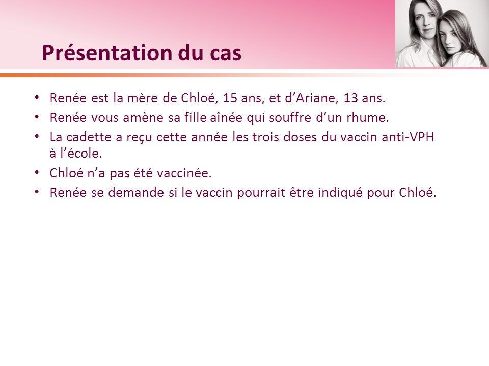 Présentation du cas Renée est la mère de Chloé, 15 ans, et d'Ariane, 13 ans. Renée vous amène sa fille aînée qui souffre d'un rhume.