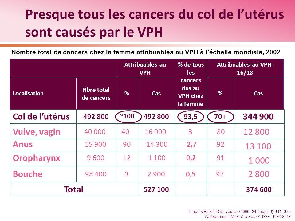 Presque tous les cancers du col de l'utérus sont causés par le VPH
