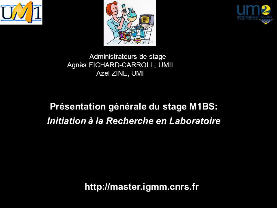 Présentation générale du stage M1BS: