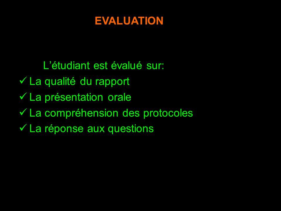 EVALUATION L'étudiant est évalué sur: La qualité du rapport. La présentation orale. La compréhension des protocoles.