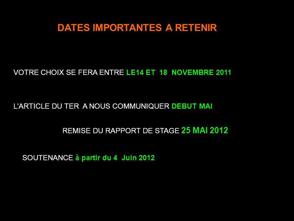DATES IMPORTANTES A RETENIR