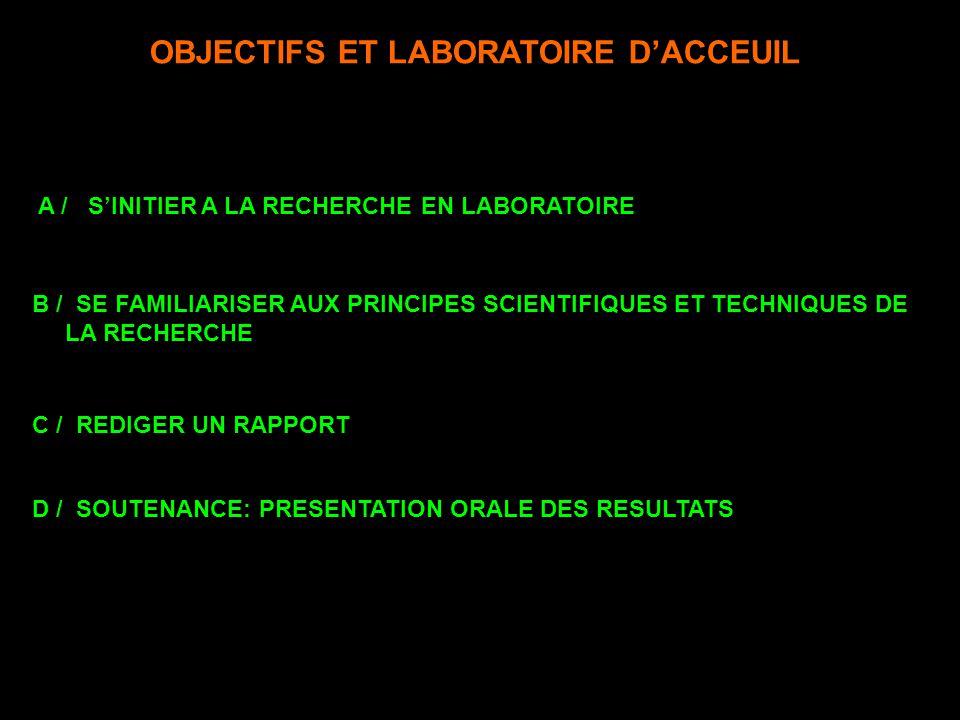 OBJECTIFS ET LABORATOIRE D'ACCEUIL