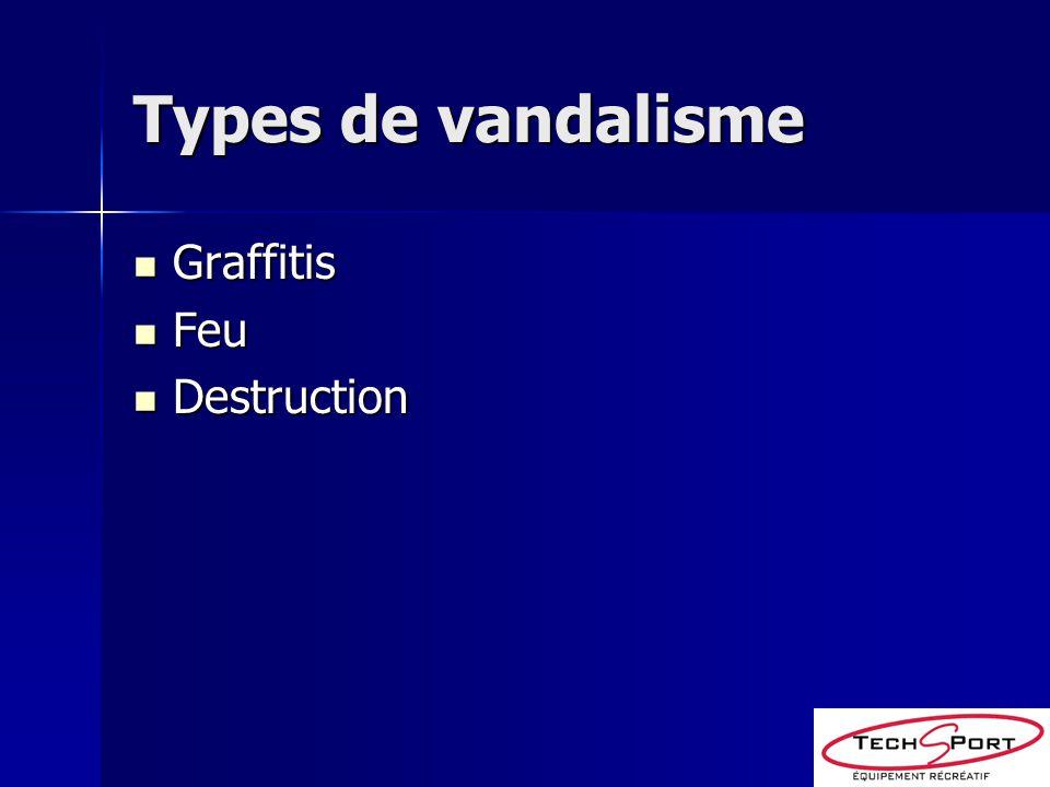 Types de vandalisme Graffitis Feu Destruction