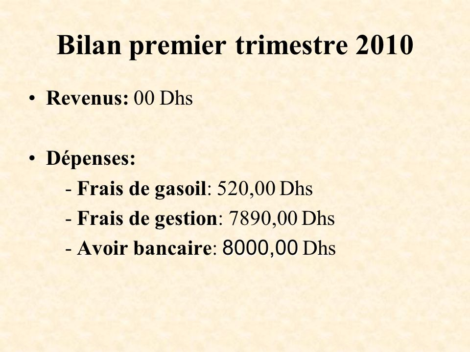 Bilan premier trimestre 2010