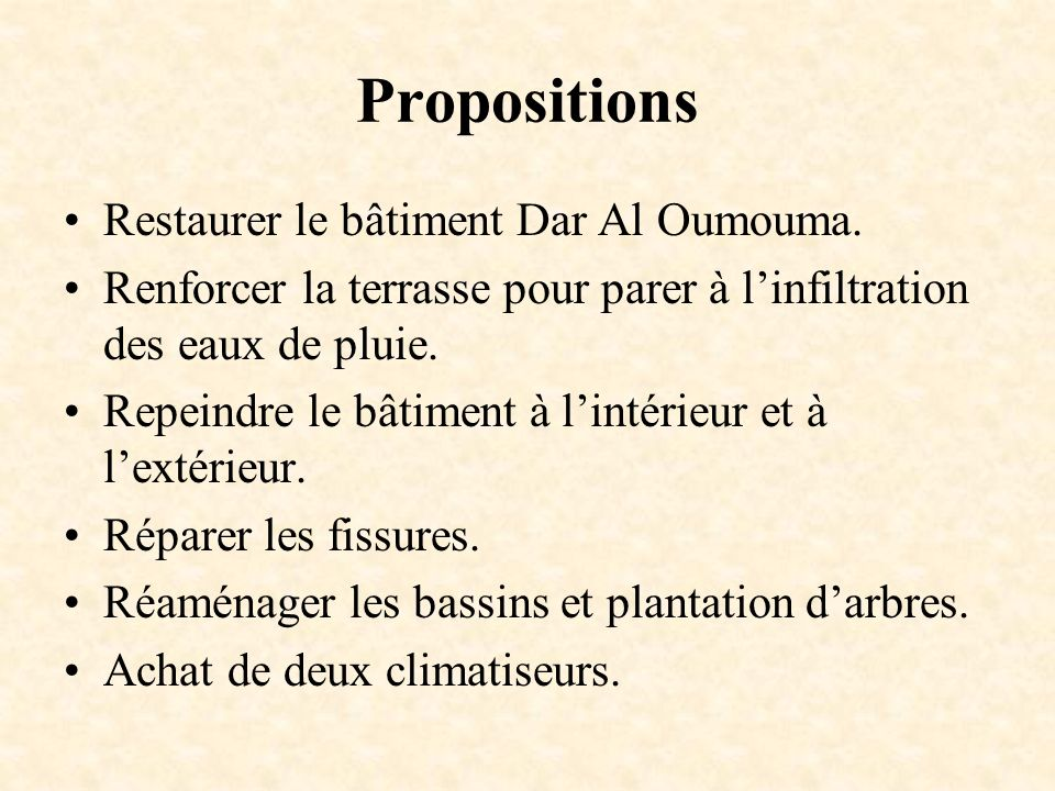 Propositions Restaurer le bâtiment Dar Al Oumouma.
