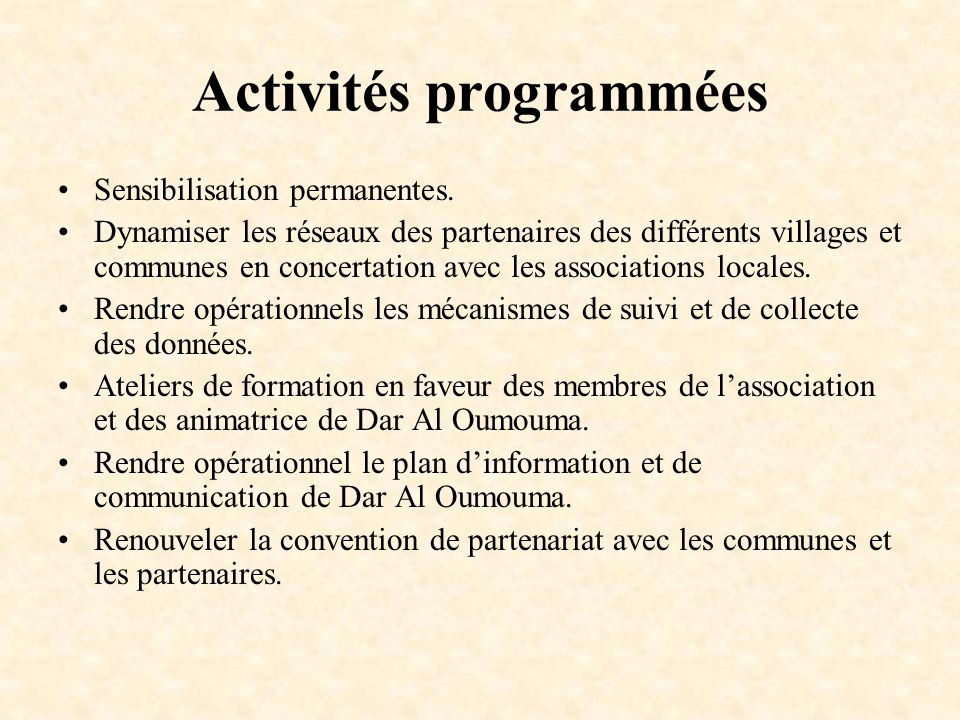 Activités programmées