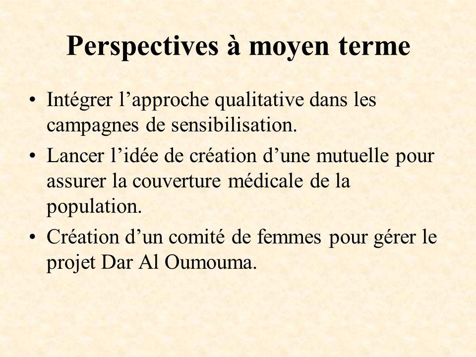 Perspectives à moyen terme