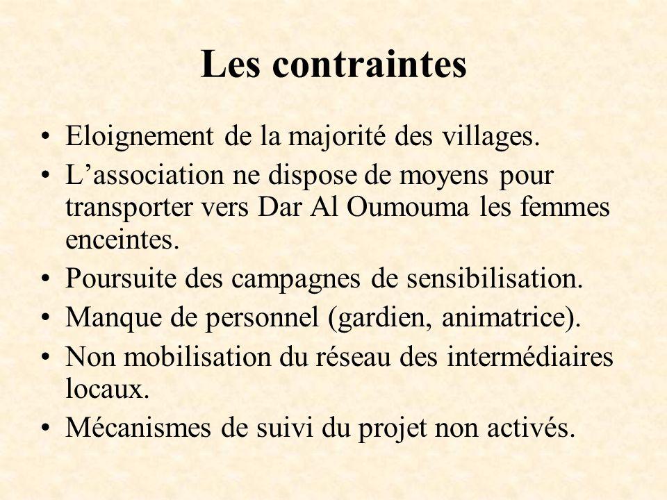 Les contraintes Eloignement de la majorité des villages.